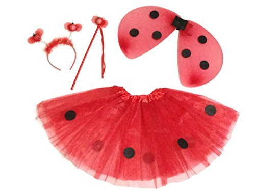KWC - 4 pcs Ladybug Costume Set - Wings, Tutu, Antennas (Headband) & Wand