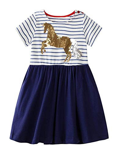 - Toddler Baby Girl Basic Dress Stripe Unicorn A line Hem Short Sleeve Casual Cotton Dress