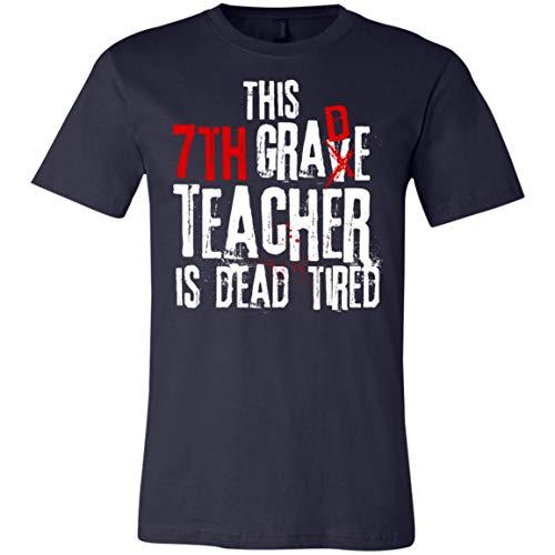 This 7th Grade Teacher is Dead Tired - Halloween - Canvas Unisex Jersey T-Shirt