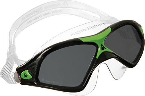 (Aqua Sphere Seal Seal XP2 Swim Mask with Smoke Lens. Lightweight & Comfortable UV Protection Swimming Goggles for Adults (Black/Green).)