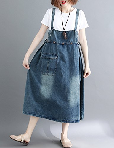 ad3dd70edc1 Innifer Women s Plus Size Suspender Strap A Line Denim Bib Jean Overall  Dress