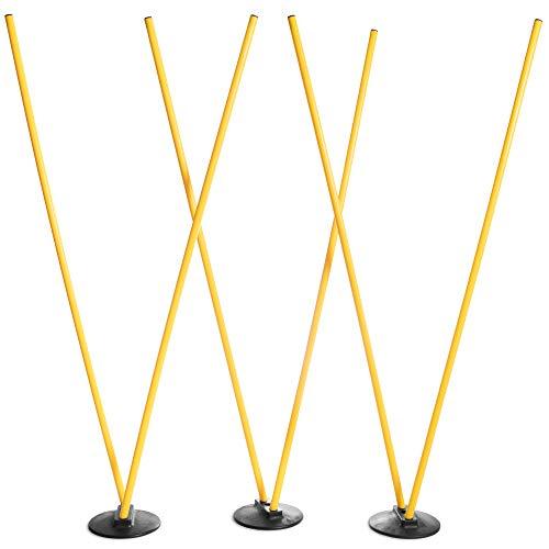 Crown Sporting Goods 6 Agility Poles with 3 Bases – Highly Visible, Yellow Poles, Soccer & Football Agility Training Equipment, Improves Lateral Speed, Balance, Quickness