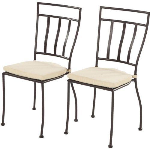 vintage woodard wrought iron chairs alfresco home bistro natural cushions charcoal set two amazon and table