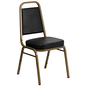 Flash Furniture HERCULES Series Trapezoidal Back Stacking Banquet Chair In  Black Vinyl   Gold Frame