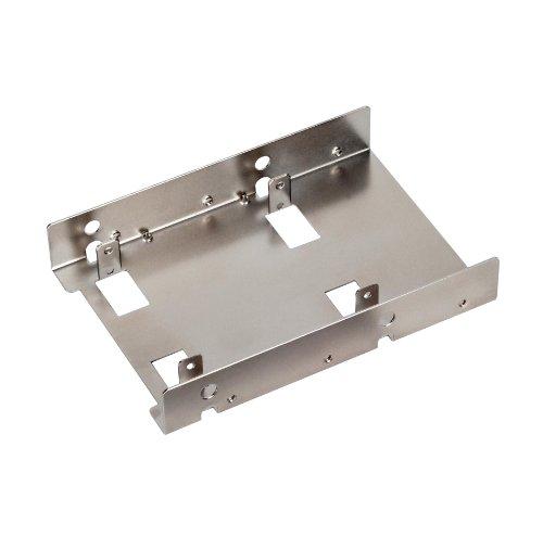 SilverStone Technology 3.5-Inch to 2 X 2.5-Inch Internal Hard Drive HDD / SSD Bay Converter, Silver (SDP08)
