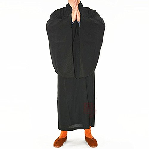 k Kung fu Robe Meditation Long Gown Suit Black L ()