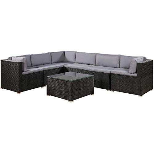(Leisure Zone 7-Piece Patio Furniture Set Outdoor Sectional Conversation Set with Soft Cushions)
