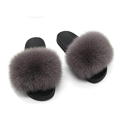 Women's Fur Slippers Women Home Furry Flat Sandals Female Cute Fluffy House Shoes,Dark Grey,39 (Kohl's Canada Calgary)