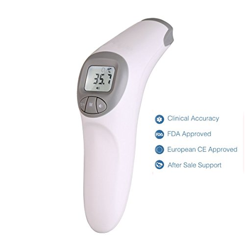 FAM-health Infrared Clinical Forehead Thermometer 3rd Generation Immediate Read Sensor Digital Fever Measurement Professional No Touch Readings for All Ages Liquid & Room Measure (Grey)