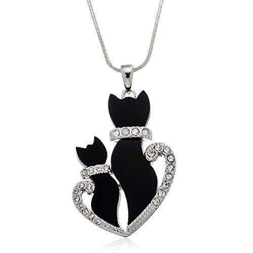 aa449f95d4f28 PammyJ Double Black Kitty Cat Crystal Pendant Necklace, 18