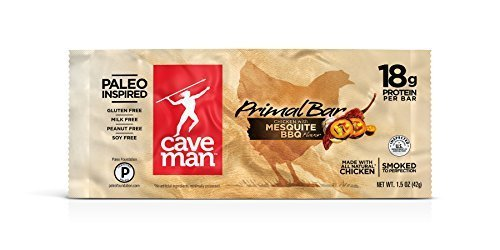 Caveman Foods Chicken Primal Bars Mesquite BBQ 12 (1.5 oz.) bars per box (a) - 2PC - 3PC