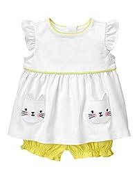 Gymboree Baby Toddler Girls\' Kitty Pocket Set, Meyer Lemon, 0-3 Months