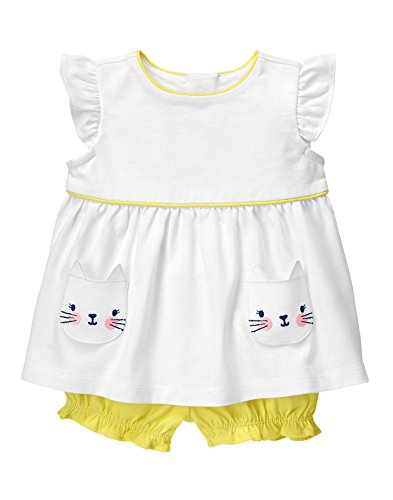 Gymboree Baby Toddler Girls Kitty Pocket Set  Meyer Lemon  18 24 Months