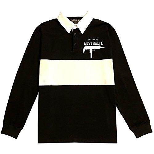 Welcome To Australia Uzi Machine Guns Country Long Sleeve Polo Rugby Shirt Medium Black (Australia Home Rugby Shirt)