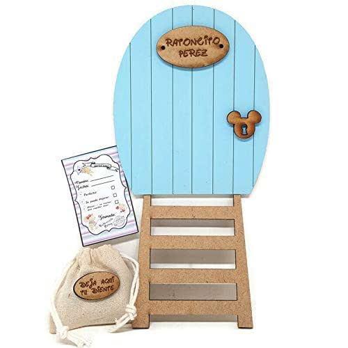 Puerta azul Ratoncito Pérez, con escalera, saquito para el diente y certificado. Producto artesanal hecho en España
