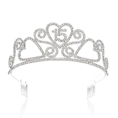 SWEETV Sparkly Birthday Tiara Quinceanera Crown - Silver Diamante 15th Birthday Party Teenage Girl Hair Jewelry -