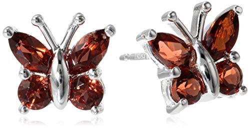 - Sterling Silver Genuine Garnet Butterfly Stud Earrings