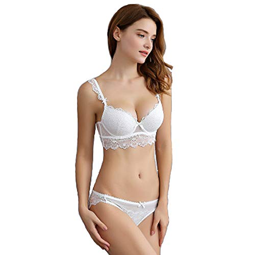 (RedSwan Women's Push Up Sexy Bras Set Transparent Lingerie Lace Underwear Set (38/85C, NO 1 White))