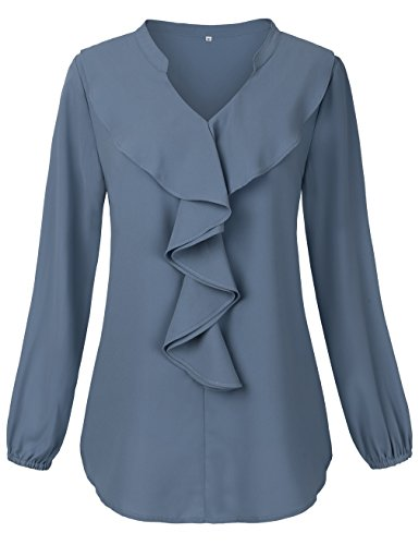 HNNATTA Blouse for Women Party, Office Ladies Wear to Work Tops Ruffle Blouse Chiffon Double Layered Front Tees Blue XX-Large