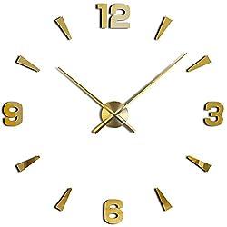 3D DIY Wall Clock, Timelike 1M Modern Frameless Large 3D DIY Wall Clock Kit Decoration Home for Living Room Bedroom (Gold)