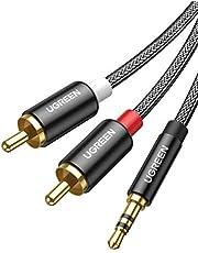 UGRREN RCA Kabel 3.5mm Male naar 2 RCA Jack Kabel Nylon Audio Kabel voor Versterker HiFi Systeem Soundbar Home Theater TV Autoradio Laptop Mixer DJ Controller Smartphone enz. (1M)