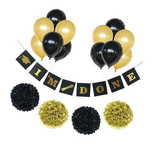(BROSCO Im Done Banner Congrats Paper Pompom Ballons Graduation Party Supplies )