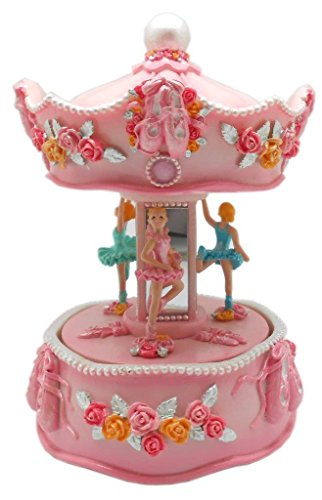 Lightahead Musical Ballerina in Carousel Figurine Christmas Music Box in Polyresin