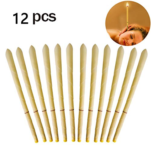 Vicanba 12 Pack Beeswax Candling Cones - 100% All-Natural Candles Non-Toxic Cylinders Lower Smoke ()