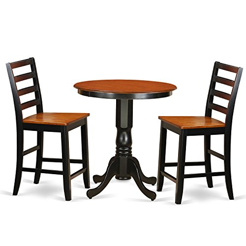 (East West Furniture EDFA3-BLK-W 3 Piece Pub Table and 2 Kitchen Bar Stool Set)