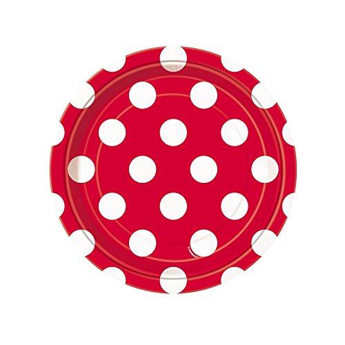 Red Polka Dot Paper Cake Plates, 8ct