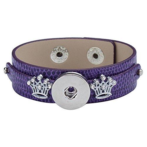 Soleebee cuir PU alliage Bracelets Approprié 5.5mm pression boutons bangle couronne strass enjolivure (pourpre)