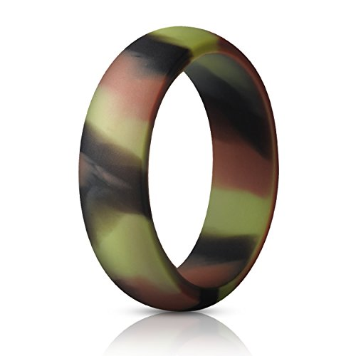 ThunderFit Silicone Ring Wedding Band for Women - 1 Ring (Camo, 8.5-9 (18.9mm)) (Wedding Rings Pink Camo)