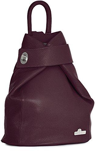 Medium WILLOW Twistlock Maroon Bag Genuine LIATALIA Rucksac Size Backpack Travel Italian Detail Leather PXwTq