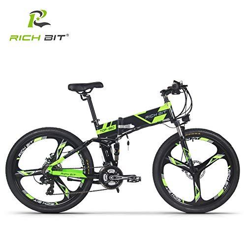 RICH BIT 860 어시스트 자전거 접는 풀 서스펜션 26인치 36V12.8ah리튬 배터리 전용 충전기 첨부 21단속 산악자전거 데스크 브레이크 방범 등록 가능