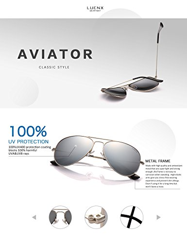 bc0dbd27b16 LUENX Mens Womens Aviator Sunglasses Polarized Silver Mirrored Lens Metal  Frame with case UV 400 Protection