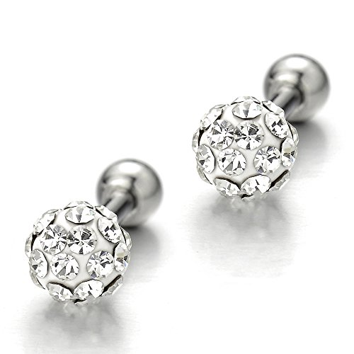 Womens Ball Stud Earrings Screw Back Stainless Steel with Cubic Zirconia, 2pcs