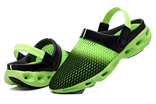 Ausom Hombres Mujeres Mesh Transpirable Zapatos De Verano Beach Aqua Sandalias De Agua Al Aire Libre Zapatillas Casuales Negro Verde