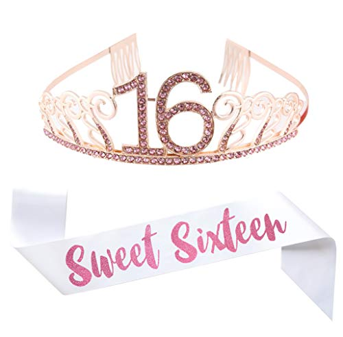 16th Birthday Pink Tiara and Sash, Glitter Satin Sash