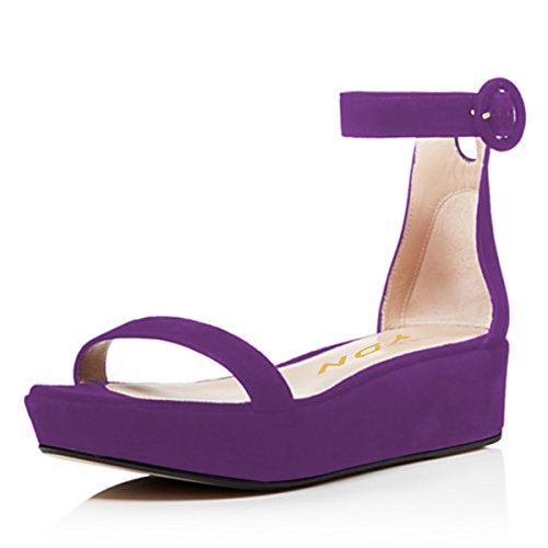 with Heel Wedge Shoes Low Toe Soft Straps Platform Ankle Sandals Purple Buckle Open YDN Pumps Women 7wIqnXAqO