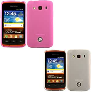 2 Pack Gel Concha Caso Cubrir Para Samsung Galaxy XCover S5690 / Hot Pink And Off White