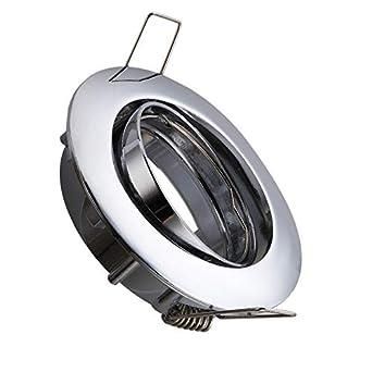 Aro Downlight Circular Basculante para Bombilla LED GU10 / GU5.3 Cromado efectoLED: Amazon.es: Iluminación
