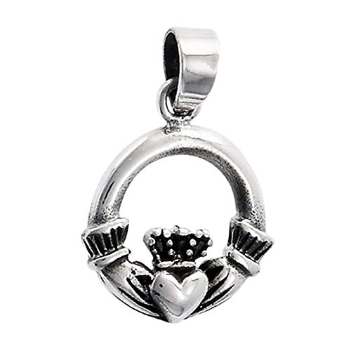 Open Claddagh Pendant .925 Sterling Silver Classic Heart Circle Charm Vintage Crafting Pendant Jewelry Making Supplies - DIY for Necklace Bracelet Accessories by CharmingSS