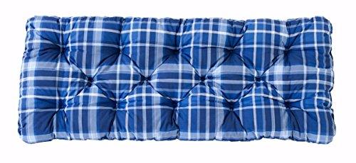 Ambientehome 2er Sitzkissen Bank Evje, kariert blau, ca 120 x 50 x 8 cm, Polsterauflage, Bankauflage