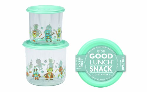 Sugarbooger Good Lunch Large Snack Container, Retro Robot, 2 Count (Sugarbooger Snack Containers)