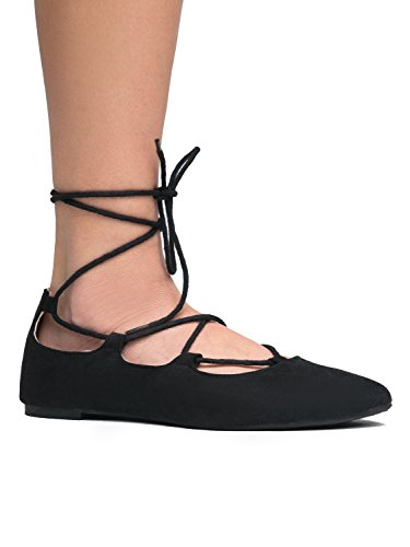 Black Lace Suede Ballet J Flats Classic Comfortable Adams Cute Pointed by Up Dancer Shoe Ghillie Strappy Toe aqwZ5Rq
