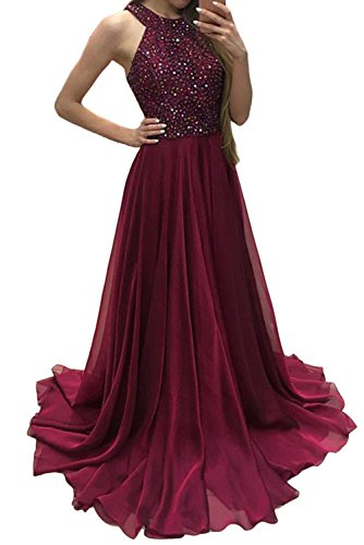 Chiffon Beaded Long Halter Gown - 6