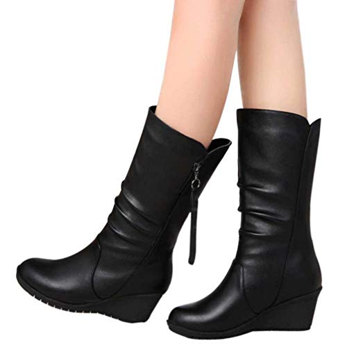 Gyoume Mid-Calf Boot Shoes Winter,Women Black Boots Wedge Platform Boot Shoes Ladies Warm - Calf Platforms Mid