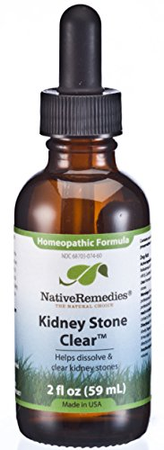 Native Remedies Kidney Stone Clear - Natural Homeopathic Formula Temporarily Helps Dissolve and Clear Kidney Stones - Relieves Pain, Nausea and Vomiting - 59 mL
