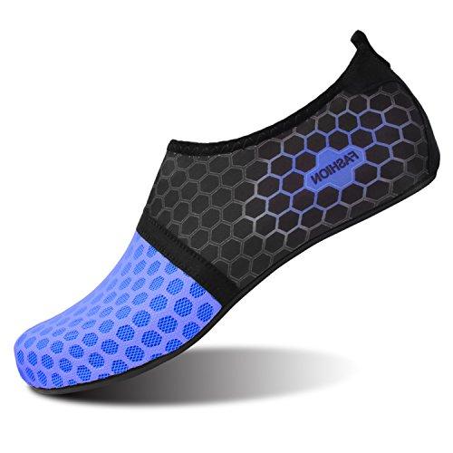L-RUN Men Women Swim Shoes Water Shoes Outdoor Dot_Navy XXL(W:12-13,M:10-11)=EU43-44 ()