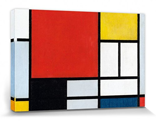 Piet Mondrian Stretched Canvas Print - Composition with Large Red Plane, 1921 (47 x 32 inches)
